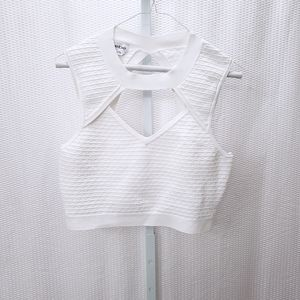 Bebe Textured Cutout Crop Top